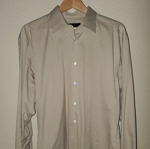 Prada mens button down dress shirt in tan.